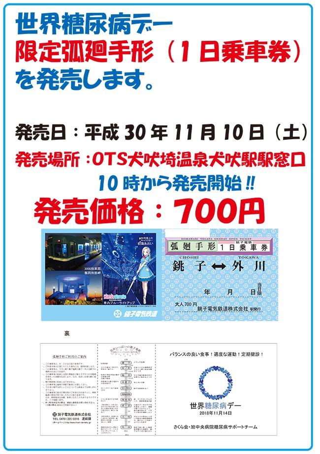 世界糖尿病デー限定銚子電鉄1日乗車券